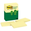 Post-it Recycled Note Pads, 3 x 5, Canary Yellow, 100-Sheet, 12/Pack