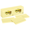 Post-it Original Pads in Canary Yellow, 3 x 5, Lined, 100-Sheet, 12/Pack