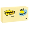 Post-it Original Pads in Canary Yellow, 3 x 5, 90-Sheet, 24/Pack