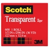 "Scotch Transparent Tape, 1/2"" x 1296"", 1"" Core, Clear"