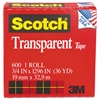 "Scotch Transparent Tape, 3/4"" x 1296"", 1"" Core, Clear"