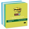 Post-it Recycled Notes in Bora Bora Colors, 3 x 3, 90-Sheet, 5/Pack