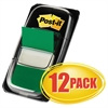 Marking Page Flags in Dispensers, Green, 50 Flags/Dispenser, 12 Dispensers/Pack