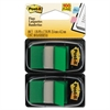 Post-it Standard Page Flags in Dispenser, Green, 100 Flags/Dispenser