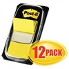 Post-it Marking Page Flags in Dispensers, Yellow, 12 50-Flag Dispensers/Box