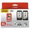 Canon 8278B005 (PG-245XL/CL-246XL) Ink & Paper Combo Pack, Black/Tri-Color