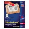 WeatherProof Shipping Labels w/TrueBlock, Laser, White, 5 1/2 x 8 1/2, 100/Pack