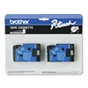 "Brother P-Touch TC Tape Cartridges for P-Touch Labelers, 1/2""w, Black on Clear, 2/Pack"