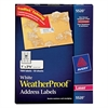 Avery WeatherProof Addess Labels w/TrueBlock, Laser, White, 1 x 2 5/8, 1500/Pack