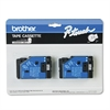 "P-Touch TC Tape Cartridges for P-Touch Labelers, 1/2""w, Black on White, 2/Pack"