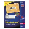 Avery WeatherProof Addess Labels w/TrueBlock, Laser, White, 1 1/3 x 4, 700/Pack