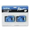 "P-Touch TC Tape Cartridges for P-Touch Labelers, 1/2""w, Blue on White, 2/Pack"