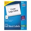 Avery Copier Full-Sheet Labels, 8 1/2 x 11, White, 100/Box
