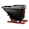 Self-Dumping Hopper, 1 Cubic Yard, 1000 lb Capacity, Black/Red