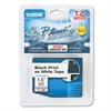 "Brother P-Touch TZe Standard Adhesive Laminated Labeling Tape, 1/4""w, White on Black"