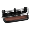 "40-Sheet Heavy-Duty Lever Action 2-to-7-Hole Punch, 11/32"" Hole, Black/Woodgrain"