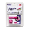 "Brother P-Touch TZ Standard Adhesive Laminated Labeling Tape, 1/2"" x 16-2/5 ft, White/Berry Pink"