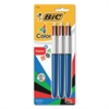 4-Color Retractable Ballpoint Pen, Assorted Ink, 1mm, Medium, 3/Pack
