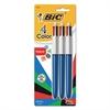 BIC 4-Color Retractable Ballpoint Pen, Assorted Ink, 1mm, Medium, 3/Pack