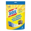Non-Scratch Soap Scrubbers, Blue, 4/Pack