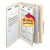 Manila Classification Folders with 2/5 Right Tab, Legal, Six-Section, 10/Box