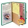 Smead Pressboard Folders with Two Pocket Dividers, Legal, Six-Section, Green, 10/Box