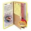 Pressboard Folders with Two Pocket Dividers, Legal, Six-Section, Yellow, 10/Box