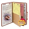 Pressboard Folders with Two Pocket Dividers, Legal, Six-Section, Red, 10/Box
