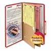 Pressboard Folders, Two Pocket Dividers, Legal, Six-Section, Bright Red, 10/Box