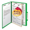Top Tab Classification Folder, One Divider, Four-Section, Letter, Green, 10/Box