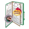 Smead Pressboard Classification Folders, Legal, Four-Section, Green, 10/Box