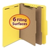 "Pressboard Classification Folder, 2"" Exp., Two Dividers, Letter, Yellow, 10/Box"