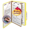 Smead Pressboard Classification Folders, Legal, Four-Section, Yellow, 10/Box