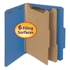 "Smead Pressboard Classification Folder, 2"" Exp., 2 Dividers, Letter, Dark Blue, 10/Box"