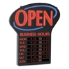 Newon LED Open Sign w/Digital Business Hours, 20 1/2 x 1 1/4 x 23 1/2, Black/Red/Blue