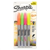 Sharpie Neon Permanent Markers, Assorted, 4/Pack