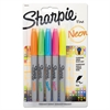 Sharpie Neon Permanent Markers, Assorted, 5/Pack