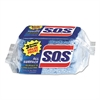 "S.O.S. All Surface Scrubber Sponge, 2 1/2 x 4 1/2, 0.9"" Thick, Blue, 3/Pack, 8 Packs/CT"