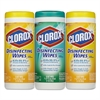 Clorox Disinfecting Wipes, 7 x 8, Fresh Scent/Citrus Blend, 35/Canister, 3/Pack