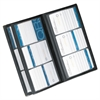 Rolodex Vinyl Business Card Book, 6 2 1/4 x 3 3/5 Cards/Page, 32 Pages, Black/Silver