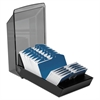 Rolodex Covered Tray Card File w/24 A-Z Guides Holds 500 2 1/4 x 4 Cards, Black