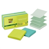 Pop-up Recycled Notes in Bora Bora Colors, 3 x 3, 90-Sheet, 10/Pack