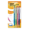 Atlantis Original Retractable Ballpoint Pen, Assorted Ink, Medium, 1mm, 4/Pack