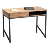 Safco Single Drawer Office Desk, 43 1/4 x 21 5/8 x 30 3/4, Natural/Black