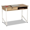 Single Drawer Office Desk, 43 1/4 x 21 5/8 x 30 3/4, Beech/White