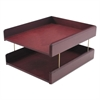 Hardwood Double Letter Desk Tray, Two Tier, Mahogany