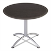 iLand Table, Dura Edge, Round Seated Style, 36 dia x 29h, Gray Walnut/Silver