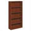 10700 Series Wood Bookcase, Five Shelf, 36w x 13 1/8d x 71h, Cognac