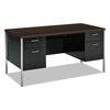 HON 34000 Series Double Pedestal Desk, 60w x 30d x 29 1/2h, Mocha/Black