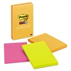 Post-it Pads in Rio de Janeiro Colors, Lined, 4 x 6, 90-Sheet, 3/Pack